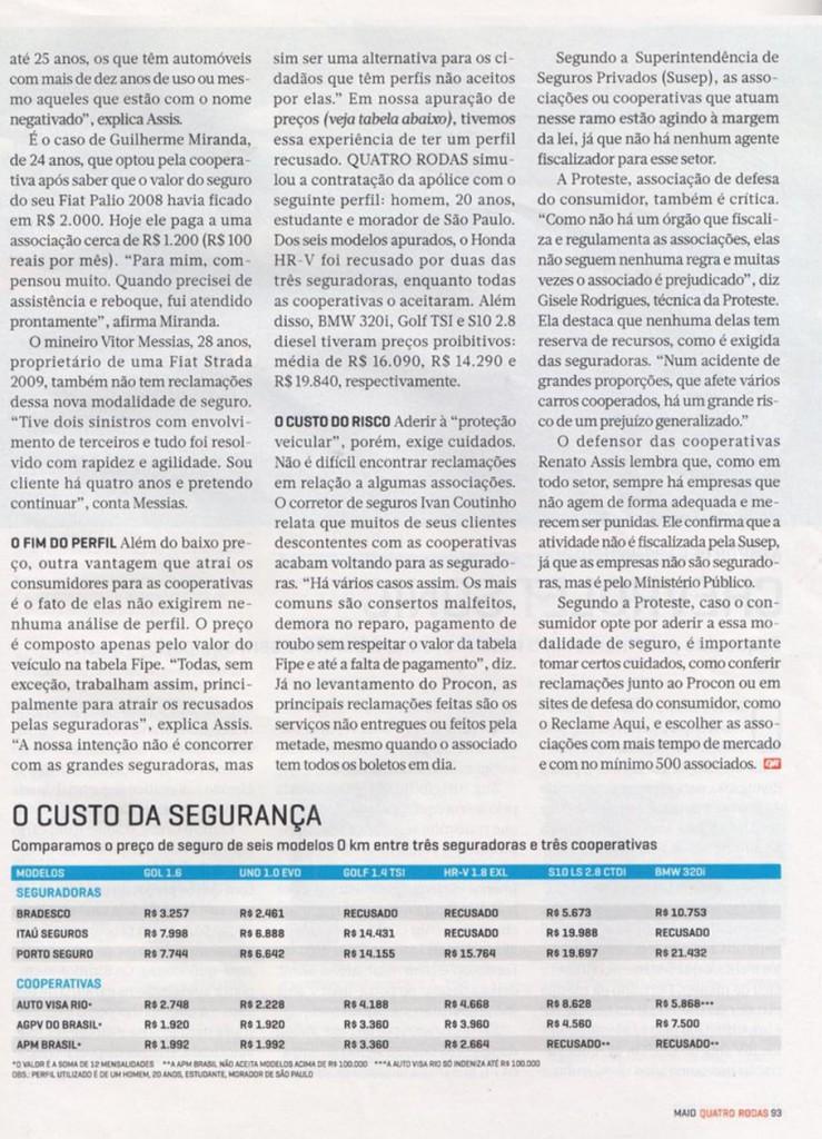 Revista quatro rodas - Proteção Veicular 02
